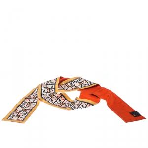 Fendi Mustard and Orange Printed Silk Twilly Bandeau Scarf