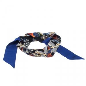 Fendi Blue Printed Silk Twilly Twill Orchidea Blue Neon Bandeau Scarf