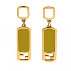 Fendi Gold Tone Lime Green Enamel Drop Earrings