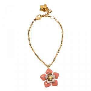 Fendi Blossom Enamel Flower Charm Gold Tone Bracelet