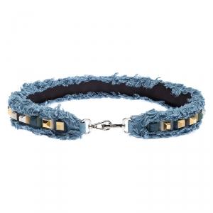 Fendi Blue Denim Studded Interchangeable Shoulder Strap