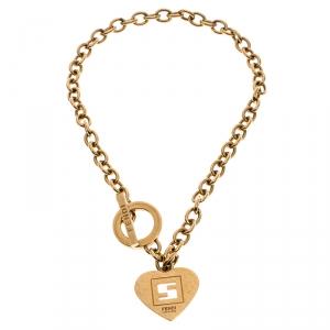 Fendi Gold Metal Tone Chain Link Heart Charm Toggle Bracelet