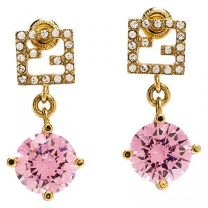 Fendi Gold Tone Crystal Studded Pink Stone Drop Earrings