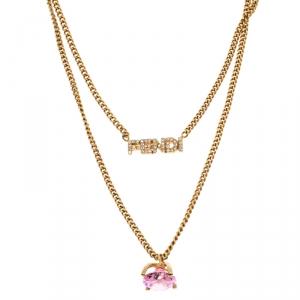 Fendi Gold Tone Pink Stone Logo Name Crystal Embellished Necklace