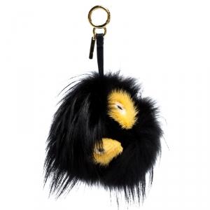 Fendi Black/Yellow Fur Zesty Bug Bag Charm