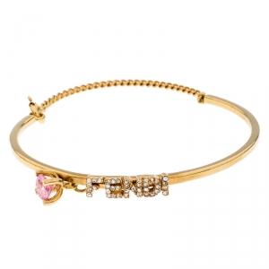 Fendi Gold Tone Crystal Embellished Logo Charm Bracelet S
