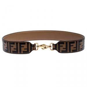 Fendi Brown/Black Zucca Leather Strap You Bag Strap