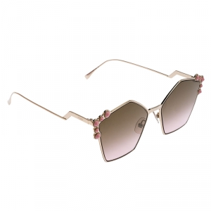 Fendi Rose Gold and Pink Gradient Mirrored FF 0261/S Cat Eye Sunglasses