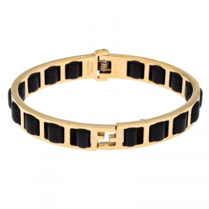 Fendi Black Leather Gold Tone Chain Link Woven Bracelet S