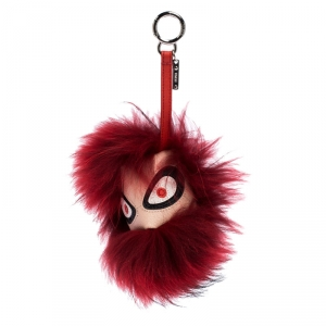 Fendi Red Fur Bag Bugs Leather Key Chain / Bag Charm