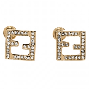 Fendi FF Crystal Studded Gold Tone Stud Earrings