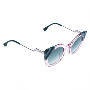 Fendi Crystal Pink/ Green Gradient FF 0240/S Waves Cat Eye Sunglasses