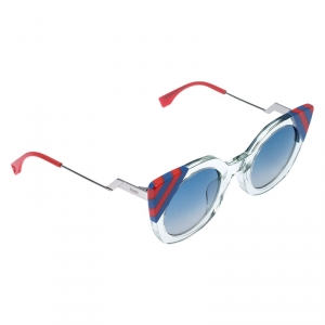 Fendi Multicolor Transparent Gradient Wave Cat Eye Sunglasses
