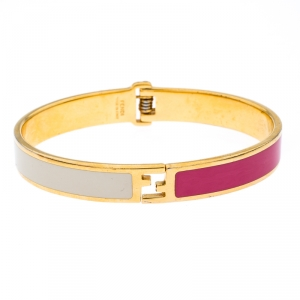 Fendi The Fendista Bicolor Enamel Gold Tone Bracelet M
