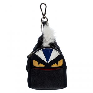 Fendi Multicolor Leather,Satin and Fur Monster Eye Bag Charm