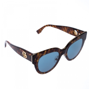 Fendi Zucca Monogram/Blue FF360/G/S Cateye Sunglasses