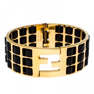 Fendi Fendista Black Woven Leather Gold Tone Wide Cuff Bracelet