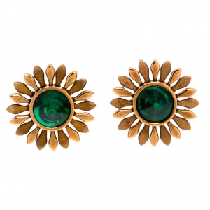 Fendi Flower Green Inlay Rose Gold Tone Stud Earrings