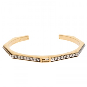 Fendi Baguette Two Tone Textured Open Cuff Bracelet