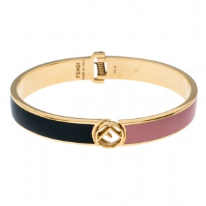 Fendi F is Fendi Bicolor Enamel Gold Tone Narrow Cuff Bracelet