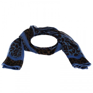 Fendi Bicolor Animal Print Sheer Silk Scarf