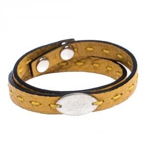 Fendi Selleria Yellow Leather Silver Tone Double Wrap Bracelet