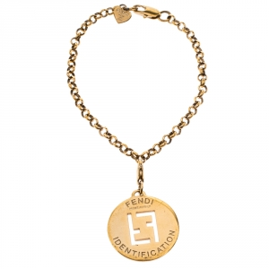 Fendi Gold Tone ID Pendant Chain Bracelet