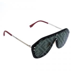 Fendi Black/ Grey Monogram Mirror M0039 G/S Shield Sunglasses