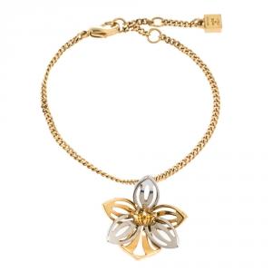 Fendi Blossom Flower Charm Two Tone Bracelet