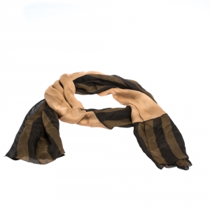 Fendi Brown Striped and Contrast Panel Silk Pequin Scarf