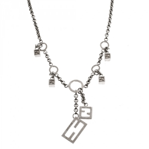 Fendi FF Charm Silver Tone Chain Link Necklace