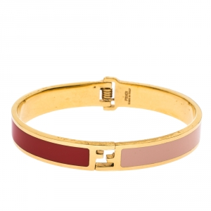 Fendi The Fendista Bicolor Enamel Gold Tone Bracelet S