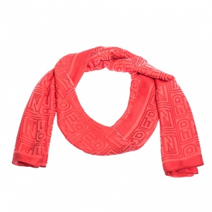 Fendi Coral Red Logo Monogram Silk Stole