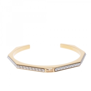 Fendi Spike Two Tone Open Cuff Bracelet