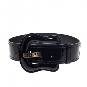 Fendi Black Patent Leather Waist B Buckle Belt 75CM
