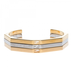 Fendi Baguette Bi-color Set of 3 Open Cuff Bracelet S