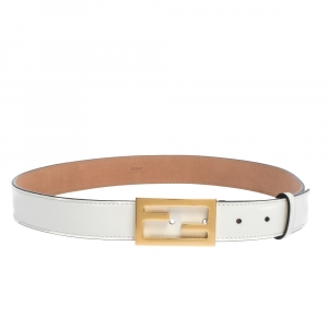 Fendi White Leather FF Logo Buckle Belt 85CM