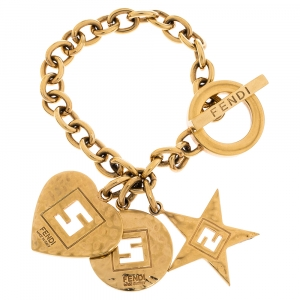 Fendi Multi Charm Gold Tone Chain Link Toggle Bracelet