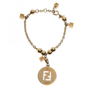 Fendi FF Gold Tone Charms Bracelet