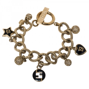 Fendi Gold Tone Multi Charms Toggle Bracelet