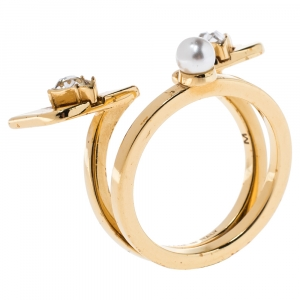 Fendi Monster Eye Crystal Faux Pearl Gold Tone Ring Size 54.5