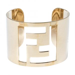 Fendi Gold Tone Zucca Logo Cuff Bracelet