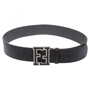 Fendi Black Zucca Canvas FF Buckle Belt Size 85