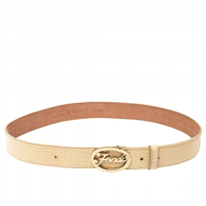 Fendi Beige Textured Leather Logo Belt 90 CM