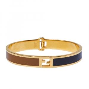 Fendi The Fendista Bi-color Enamel Gold Tone Bracelet S