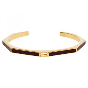 Fendi Burgundy Enamel Baguette Cuff Bracelet L