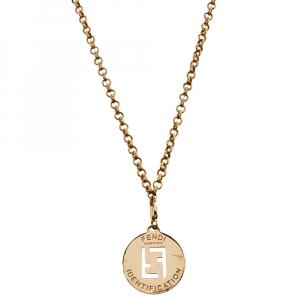 Fendi  Gold Tone Identification Pendant Necklace