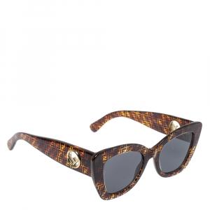 """نظارة شمسية فندي""""أف إيز فندي أف أف0327/أس"""" عين قطة عاكسة رصاصي و زوكا بني"""
