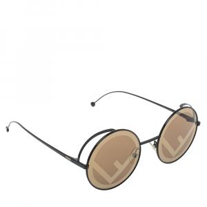 Fendi Black Tone/ Brown Zucca FF 0343/S Fendirama Round Sunglasses