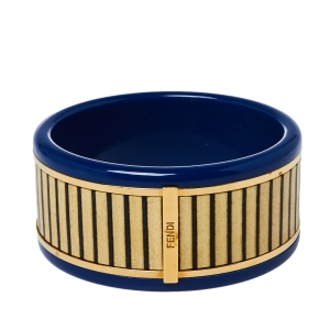 Fendi Blue Resin & Paneled Wood Wide Bangle